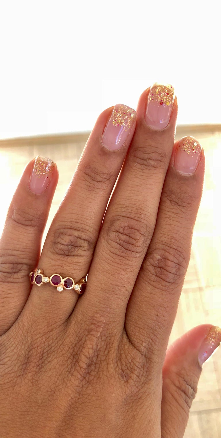 1.40 Carat Ruby Diamond 14 Karat Rose Gold Band In New Condition In Los Angeles, CA