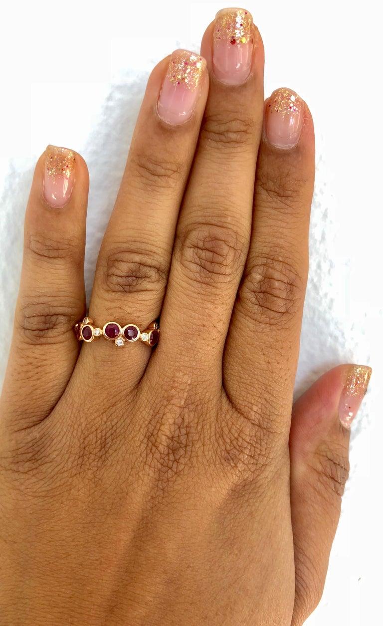 Women's 1.40 Carat Ruby Diamond 14 Karat Rose Gold Band