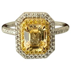 1.40 Carat Unheated Natural Yellow Sapphire and Diamond Ring GIA Certified
