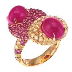 1.40 Carat Vivid Yellow Diamond 6.78 Carat Vivid Red Ruby Diamond Party Ring