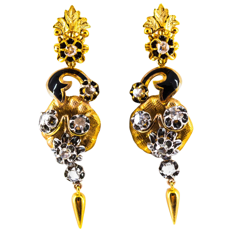 1.40 Carat White Rose Cut Diamond Enamel Yellow Gold Clip-On Flowers Earrings