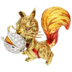 1.40 Carat 18 Karat Gold Enamel Diamond Squirrel Brooch