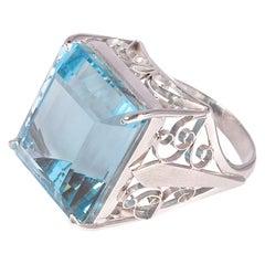 14.00 Carat Aquamarine White Gold Ring