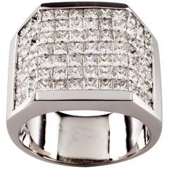 14.00 Carat Invisible Setting Diamond 18 Karat White Gold Men's Plaque Ring