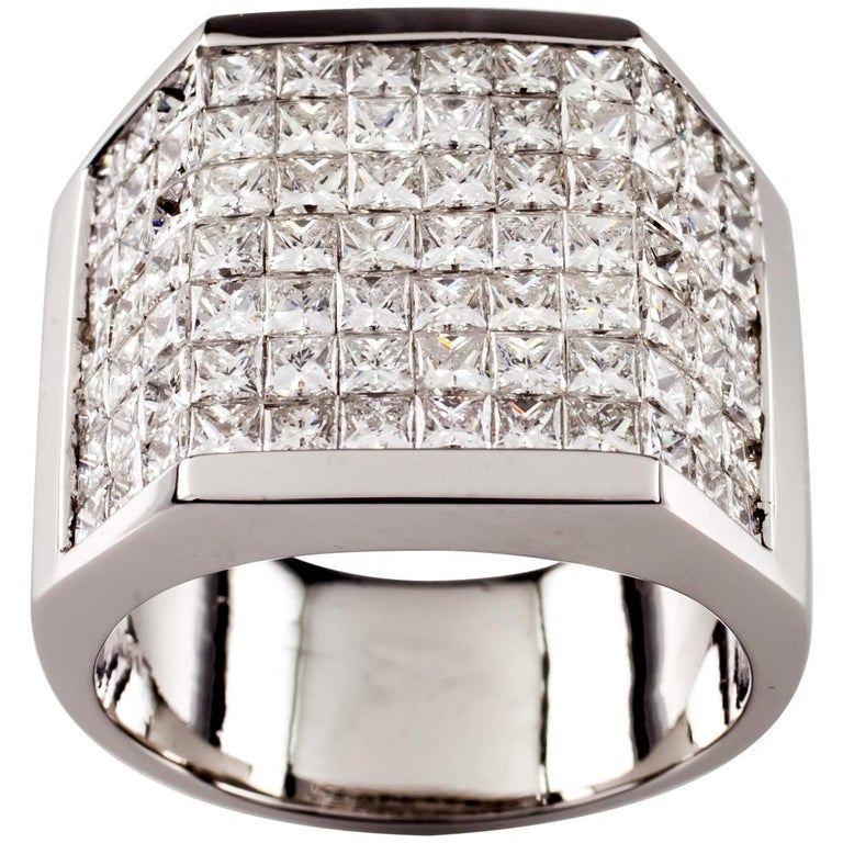 14.00 Carat Invisible Setting Diamond 18 Karat White Gold Men's Plaque Ring For Sale