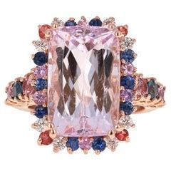 14.00 Carat Kunzite, Sapphire and Diamond 14 Karat Rose Gold Cocktail Ring