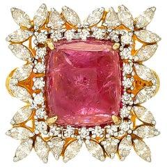 14.00 Carat Rubellite Diamond Cocktail Ring