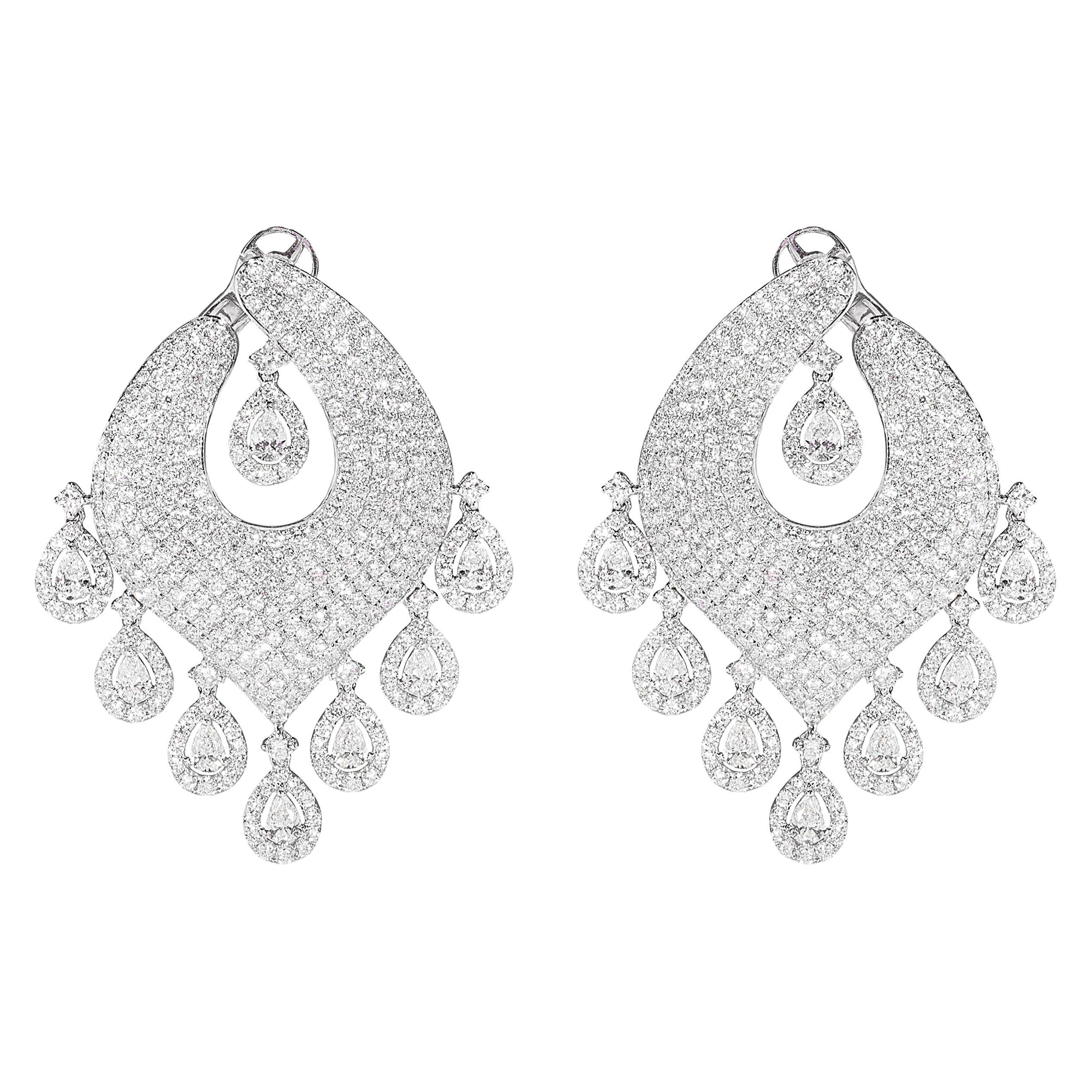 14.01 Carat Diamond Chandelier and Dangle Earrings