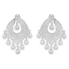 14.01 Carat Diamond Chandelier and Dangle Earrings