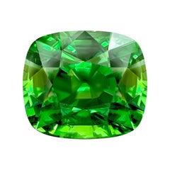 14,02 Carat Natural Intense Green Neon Kenyan Tsavorite Cushion GRS Certificate