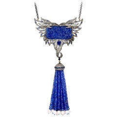 140.29 Carat Tanzanite Sapphire Pearl Tassel Wing Diamond Necklace