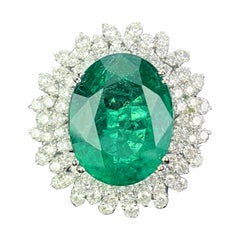 14.03 Carat Oval-Shape Emerald and Diamond Cocktail Ring