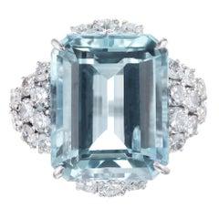 14.04 Carat Aquamarine Diamond Platinum Ring