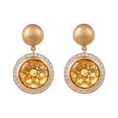 14.04 Carat Citrin Briolette Diamond Classic Matte Gold Earring