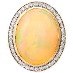 14.04 Carat Ethiopian Opal and Diamond Ring