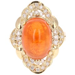 14.05 Carat Spessartine Garnet Diamond Yellow Gold Cocktail Ring