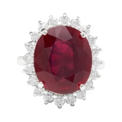 14.05 Carats Red Ruby and Natural Diamond 14k Solid White Gold Ring