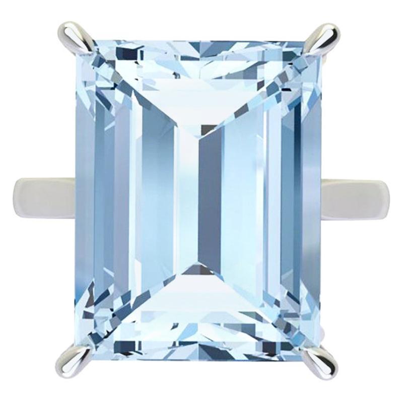 14.06 Carat Emerald Cut Aquamarine Platinum Cocktail Ring