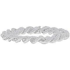 14.07 Carat Diamond-Pave 14 Karat White Gold Chain Link Bracelet