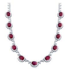 14.07 Carat Oval Ruby and 8.03 Carat Round Diamond Halo 14 Karat Gold Necklace