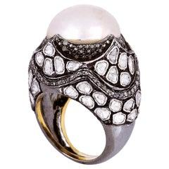 14.07 Carat Pearl Diamond Cocktail Ring