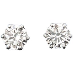 1.40Ct Round Brilliant Cut Diamond Solitaire Studs 18 Karat White Gold Earrings
