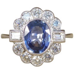 1.40Ct Sapphire and 0.65Ct Diamond Cluster Ring in 18Ct White Gold and Platinum