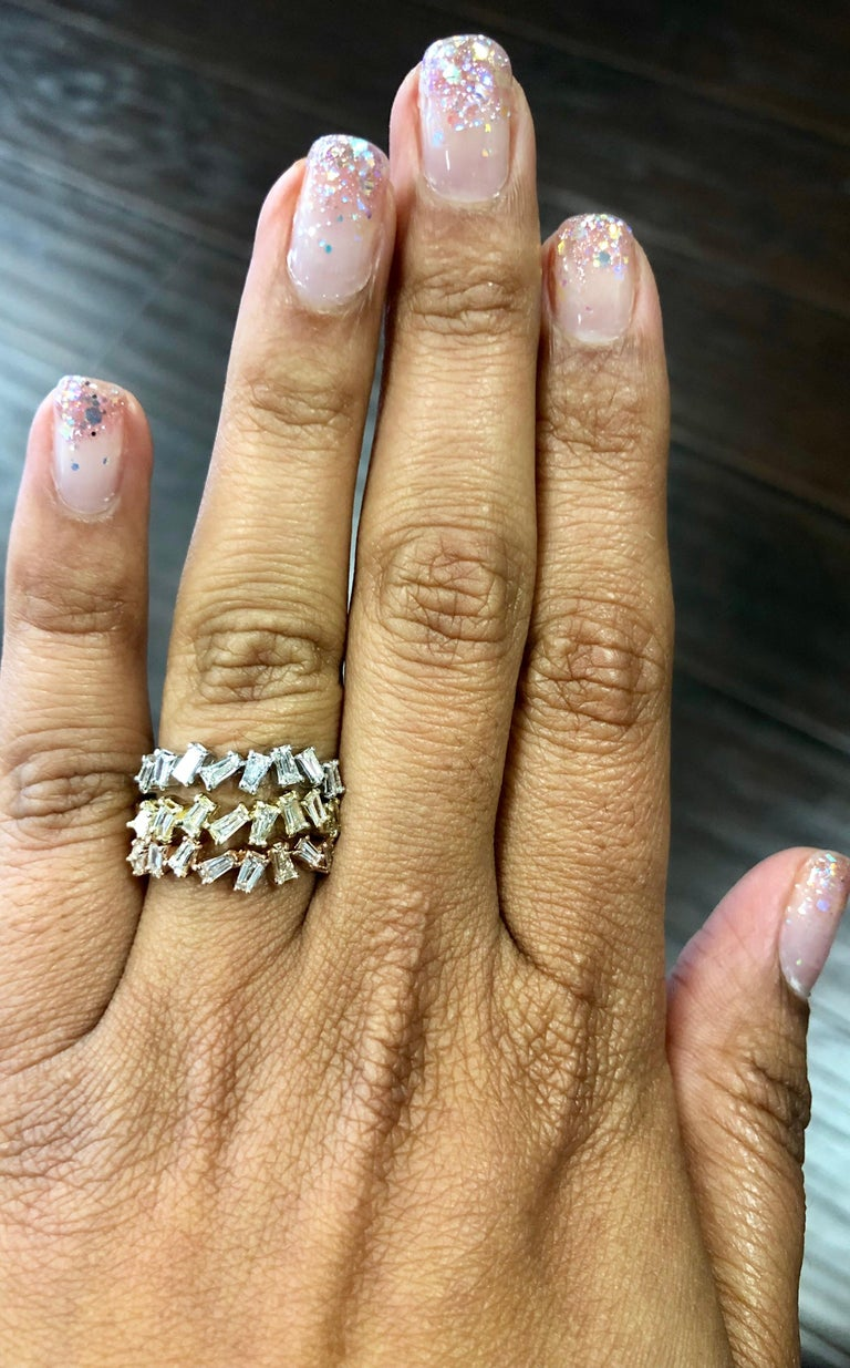 1.41 Carat Baguette Stackable Diamond Bands 14 Karat White Rose Yellow Gold In New Condition For Sale In Los Angeles, CA