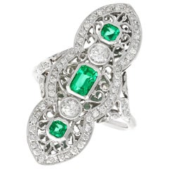 1.41 Carat Diamond and Emerald White Gold Marquise Ring, Antique, circa 1920