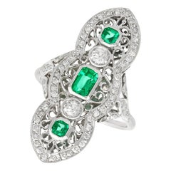 1.41 Carat Diamond and Emerald White Gold Marquise Ring Antique, circa 1920