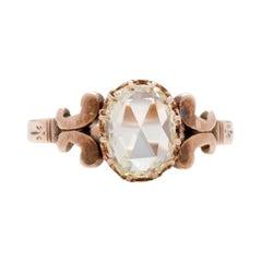 1.41 Carat Edwardian Diamond 9 Karat Rose Gold Engagement Ring