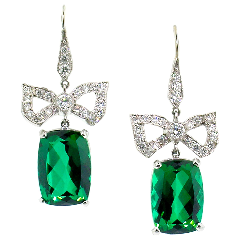 Dan Peligrad 14.1 Carat Green Tourmaline and Diamond Platinum Bow Earrings