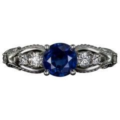 1.41 Carat Natural Kashmir Blue Sapphire Diamond Cocktail White Gold Ring