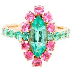 1.41 Carat No-oil Russian Emerald Pink Spinel 18 Karat Yellow Gold Ring