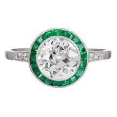 1.41 Carat Old European Cut Diamond Ring in Emerald Halo