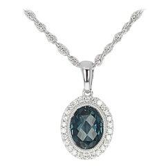1.41 Carat Oval London Blue Topaz & Diamond Pendant Necklace, 14 Karat Gold Halo