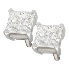 1.41 Carat Princess Cut Diamond and Platinum Stud Earrings