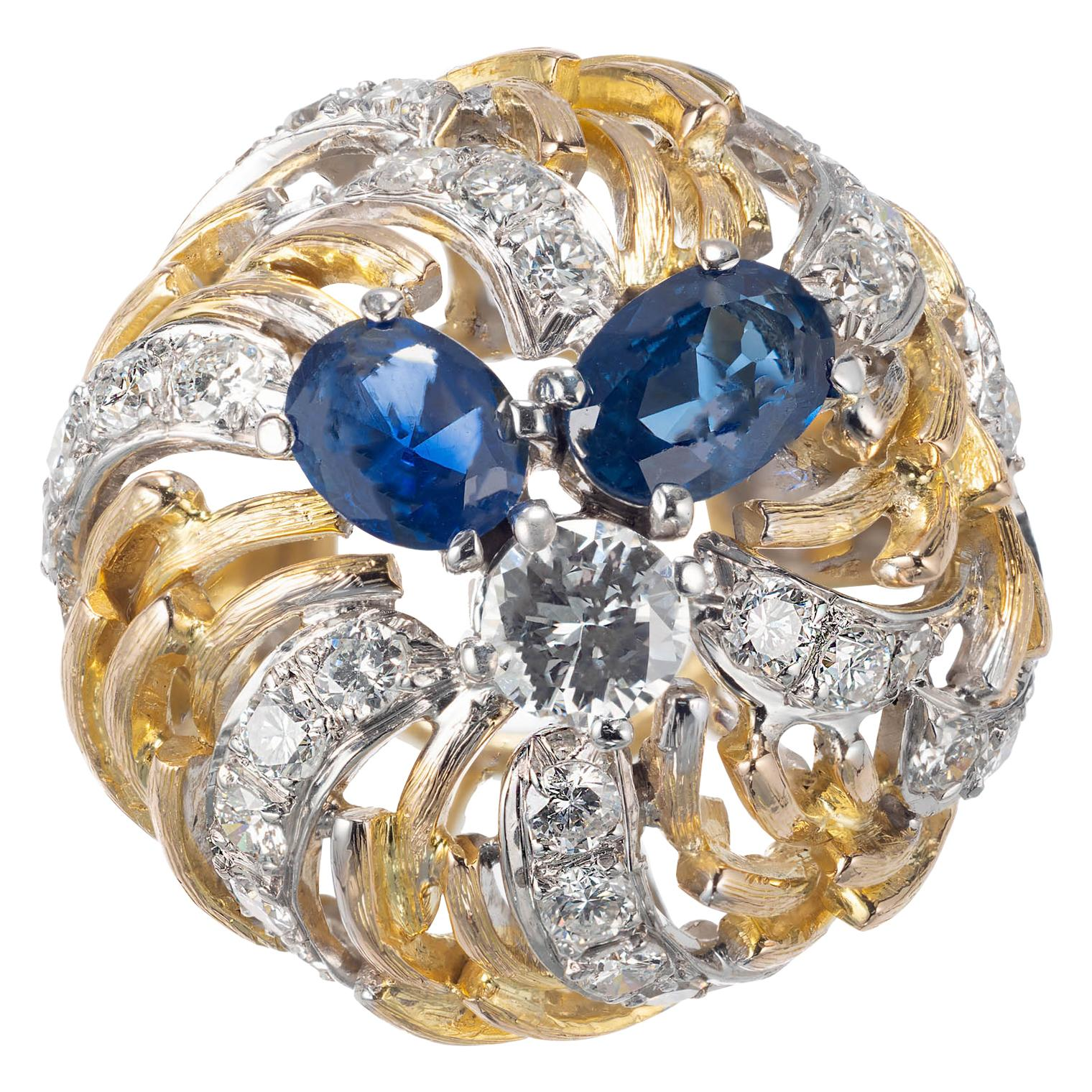 1.41 Carat Sapphire Diamond Gold Open Dome Cocktail Ring