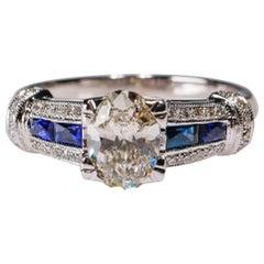 1.41 Carat Diamond 0.42ct Blue Sapphire 18 Karat White Gold Fine Ring Engagement