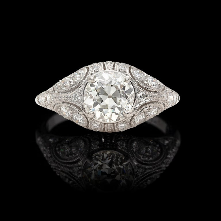 Belle Époque 1.41 Carat Old European Diamond and Platinum French Engagement Ring For Sale