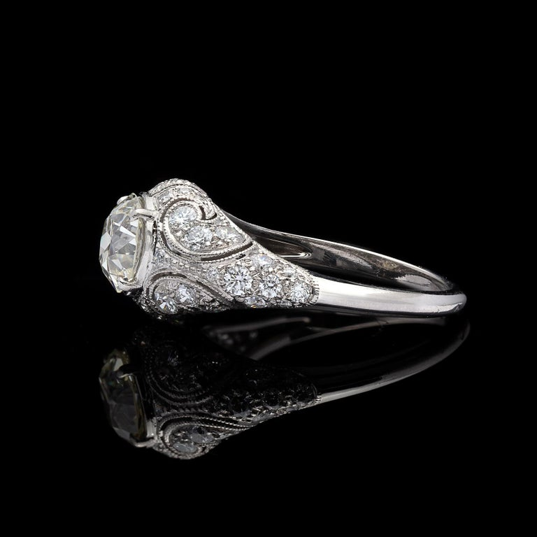 1.41 Carat Old European Diamond and Platinum French Engagement Ring In Excellent Condition For Sale In San Francisco, CA