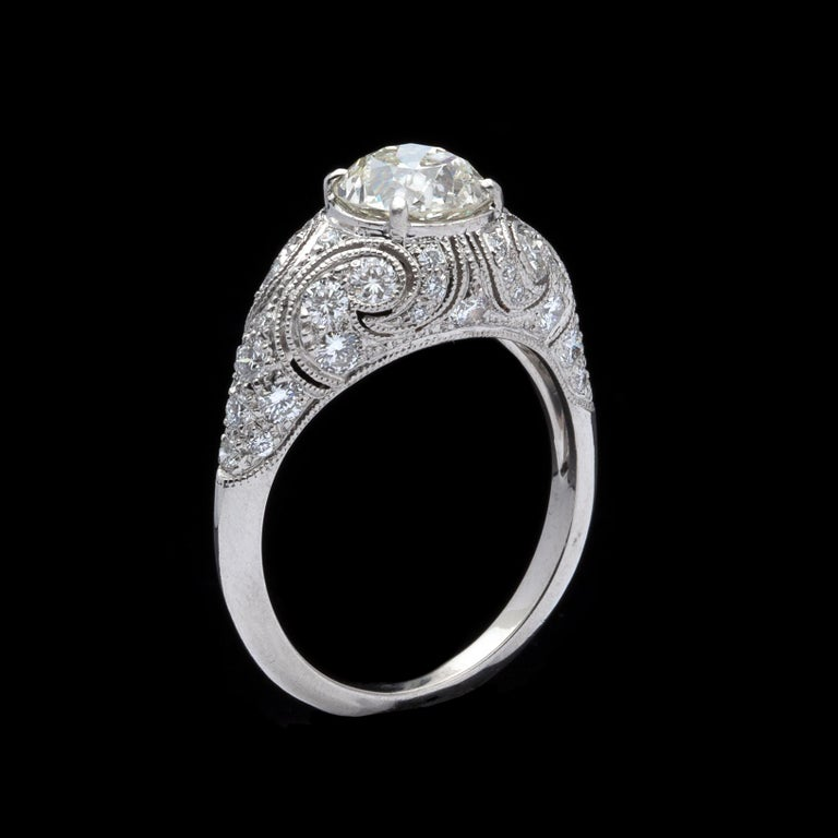 Women's 1.41 Carat Old European Diamond and Platinum French Engagement Ring For Sale