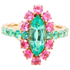 No-oil Russian Emerald Pink Spinel 18 Karat Yellow Gold Ring