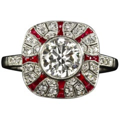 1.41 Old Cut Diamond Art Deco Style Engagement Ring Ruby Platinum