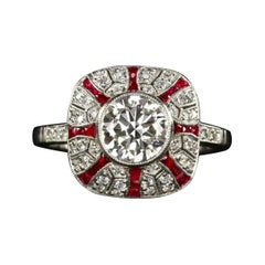 1.41 Old Cut Diamond Art Deco Style Engagement Ring Ruby Platinum
