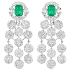 14.10 Carat Diamond Emerald 18 Karat White Gold Chandelier Earrings
