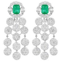 14.10 Carat Diamond Emerald 18 Karat White Gold Chandelier Earrings