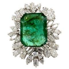 14.10 Carat Emerald with Diamonds Vintage Ring 18 Karat White Gold