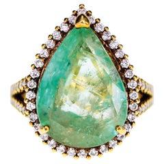 14.10 Carat 'Gigantic' Emerald Diamond Solitaire Ring
