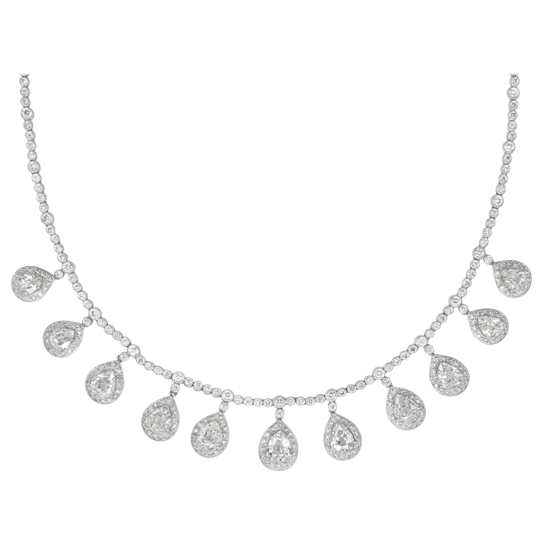 14.11 Carat Old Pear Cut Diamond Dangling Necklace 18 Karat White Gold